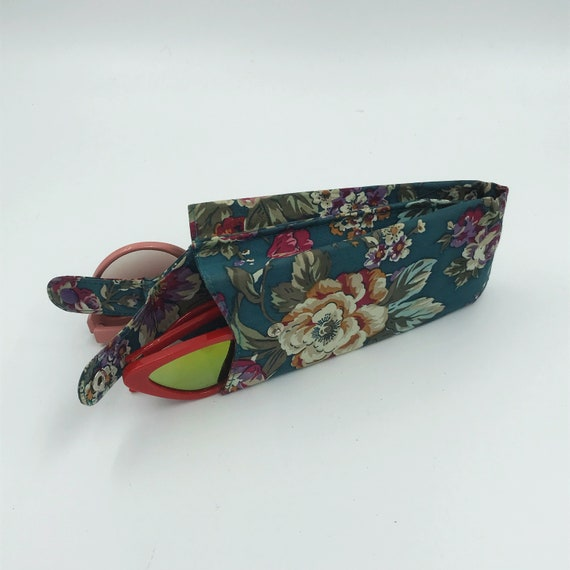 80's Sunglasses Case Floral Printed Double Sided Glasses Travel Pouch - Vtg Eyeglasses Accessories Duel Case Tapestry Girly Purse Insert