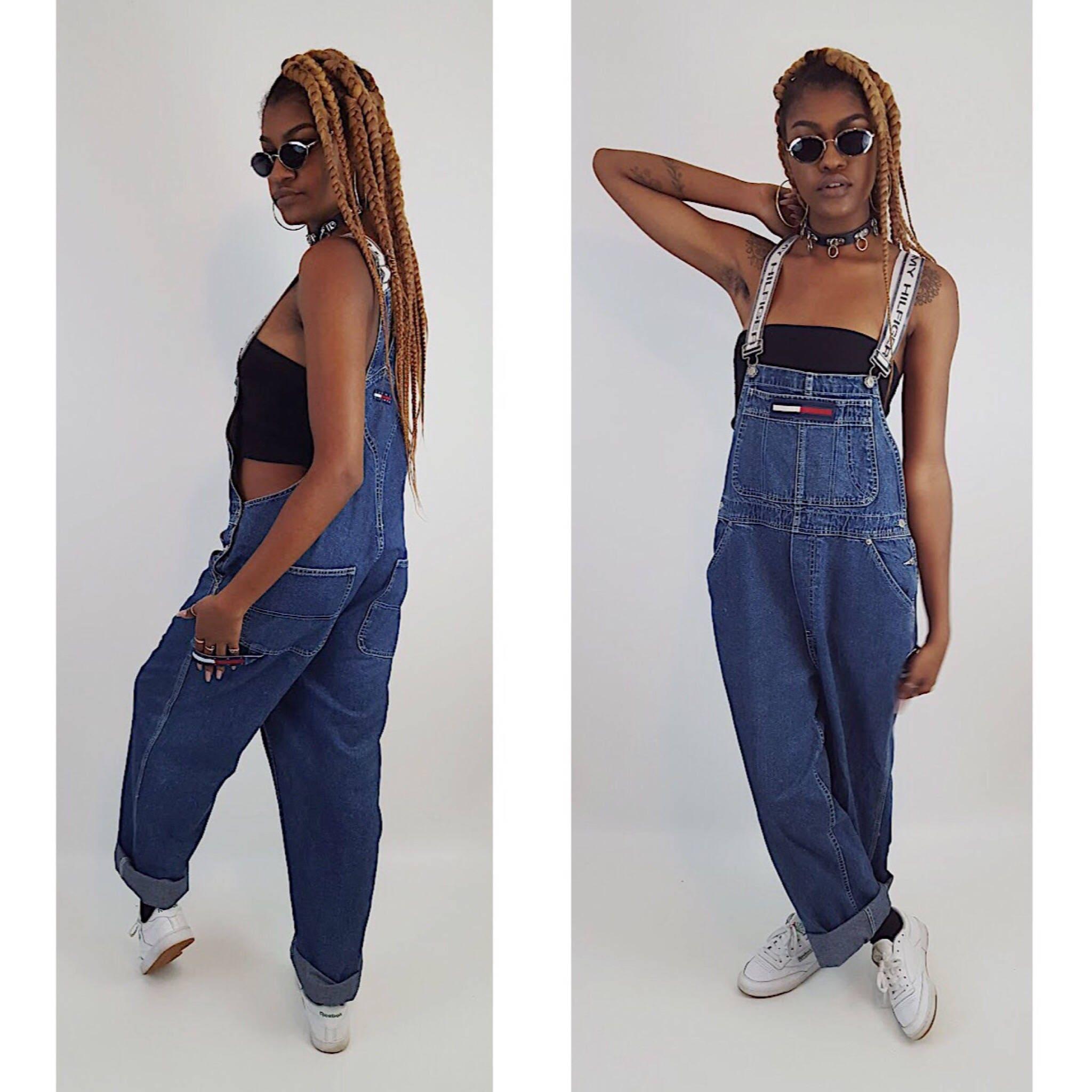 90's Tommy Hilfiger Denim Overalls Blue Jean Pants Jumpsuit