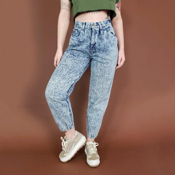 """80s Vintage High Waisted Acid Wash Jeans 28"""" 29"""" - Womens Vintage Basic Acidwash Tapered Denim Pants - Medium size 8-10 Vtg Highwaist Jeans"""