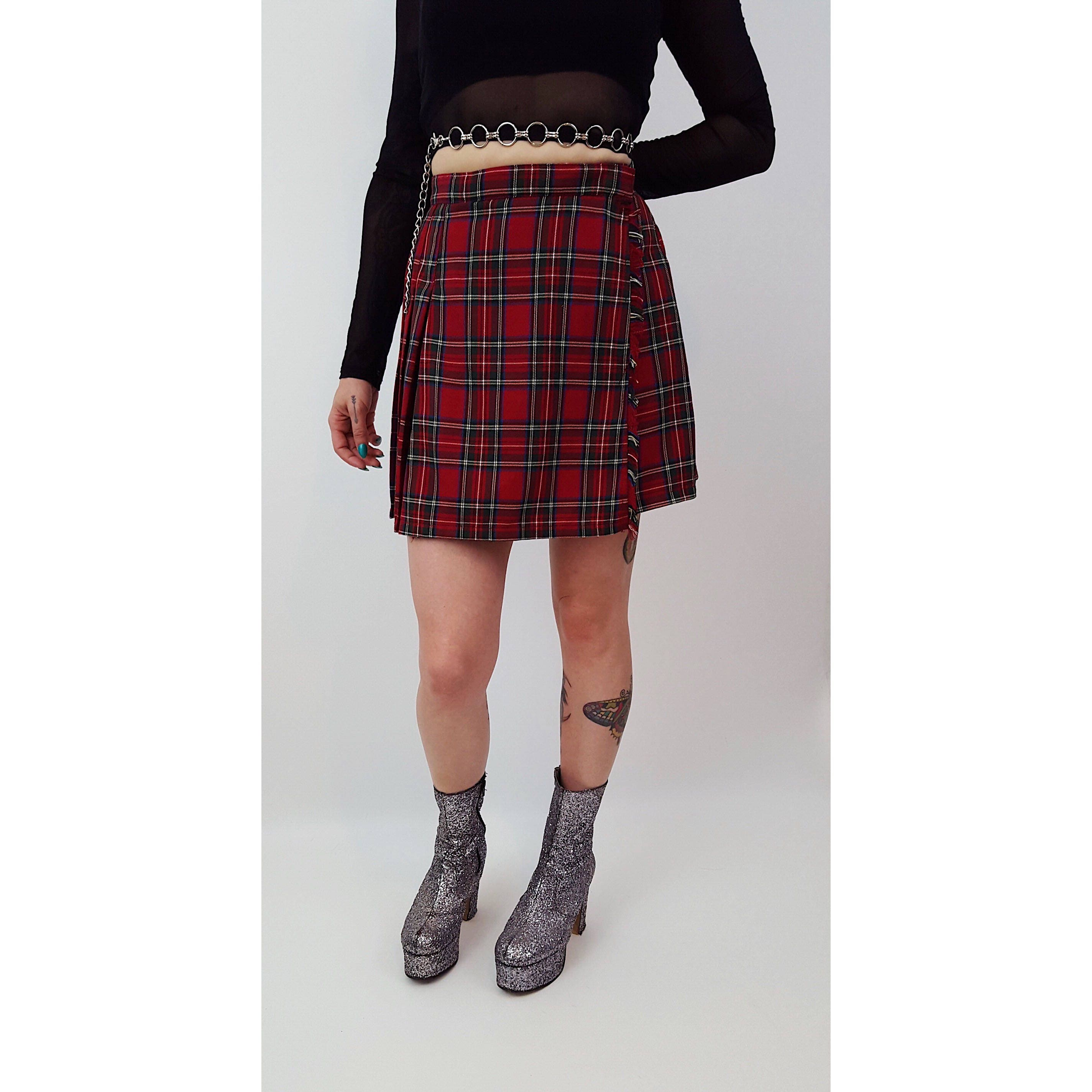 0e00d52985 90's Red Plaid Mini Skirt Size 2 4 - Tartan High Waist Pleated Wrap ...