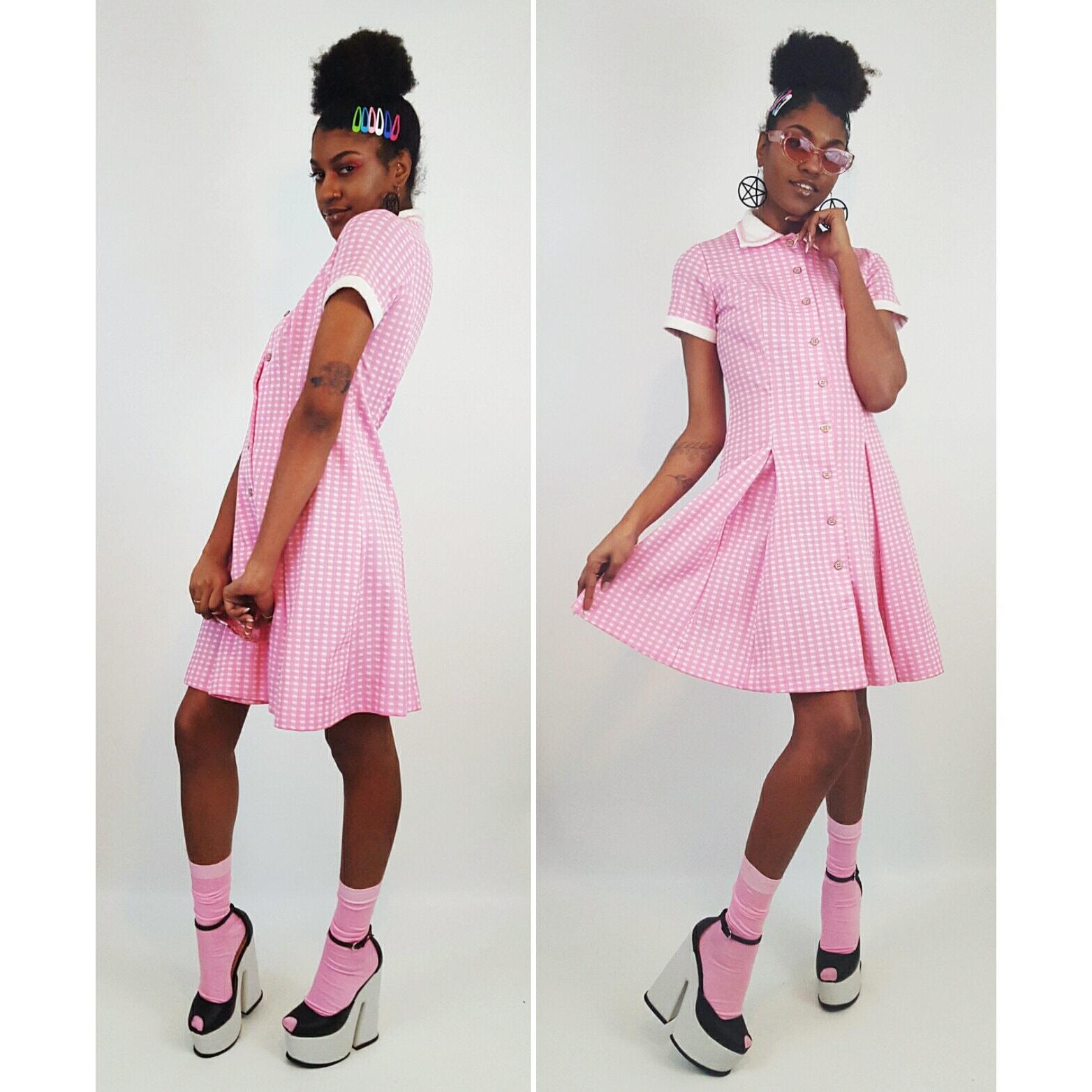 Vintage 70/'s Pink Pleated Dress  Plaid Pink Dress  Short Sleeve Pleated Dress