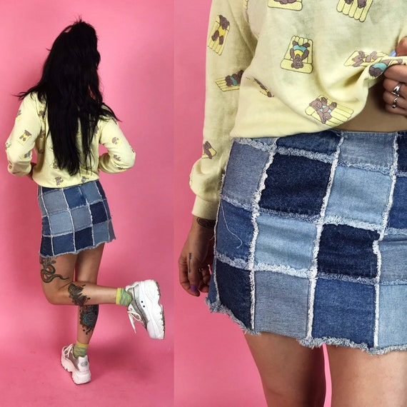 Rare 90s Patchwork Denim Mini Skirt 3/4- Mid Rise Multi Color Blue Jean Skirt Small - Patch Denim Stretchy Junior Iconic Funky Y2K Denim
