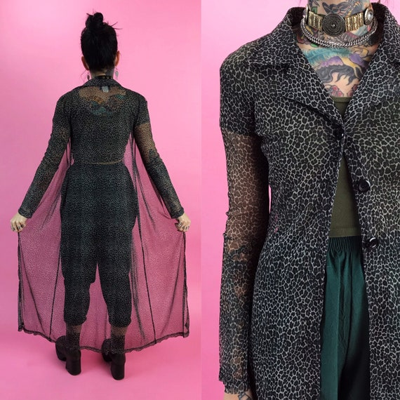 90's Sheer Mesh Leopard Print Long Sleeve Duster Small - Black Leopard Print Long Button Front Floor Length Layer - Long Sheer Layering Top