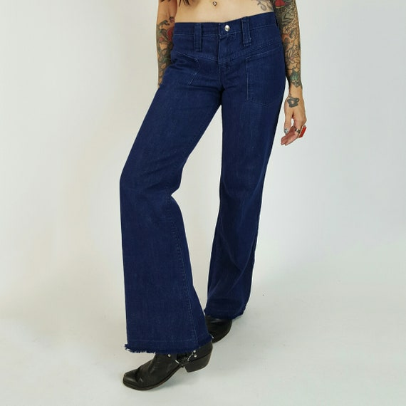 70's Low Rise Flare Jeans XS Dark Navy Blue Wash 1970s VTG Hip Huggers Country Western Style Blue Jean Pants Retro Flare Raw Hem Jeans