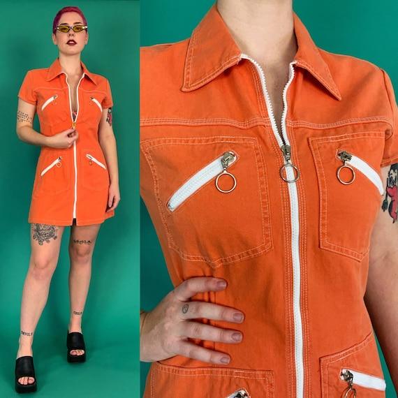 DEADSTOCK 90's Orange Denim Zip Up Mini Dress Medium US 8 - ICONIC 70s Meets 90s Cute Casual Vintage Summer/Fall Dress