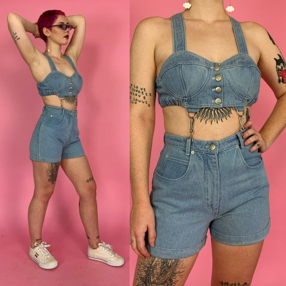 RARE 90's Cut Out Denim Shorts Romper Medium US 8