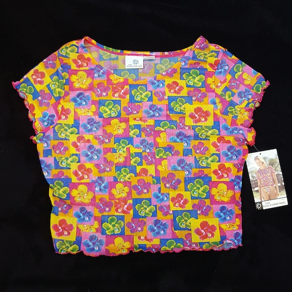 Vintage 90s Sheer Mesh Floral Crop Top - Medium Large Junior's Short Sleeve Tee - Womens See Through Multicolor Flower Shirt NEW with Tags