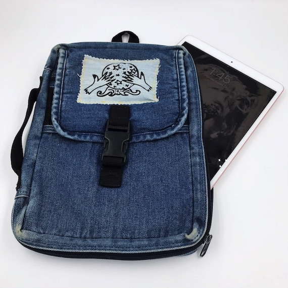 90's Denim Book Cover Travel Bag - iPad Case VTG Top Handle Zip Up Case - The Cosmic Circle Logo Crystal Ball Upcycled Unique Tablet Holder
