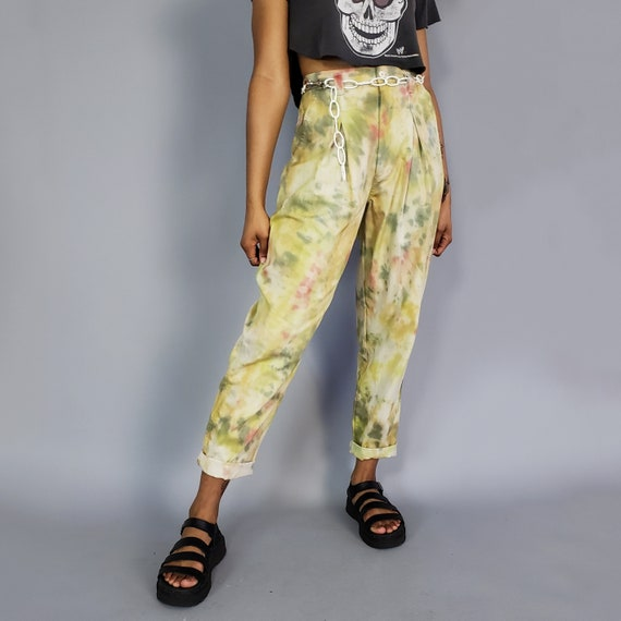 Upcycled 90s Vintage Khaki Tiedye Pants - Comfy Highwaisted Pant - Womens Small Tapered Leg Hand Dyed Trousers - Size 4 Retro Fashion