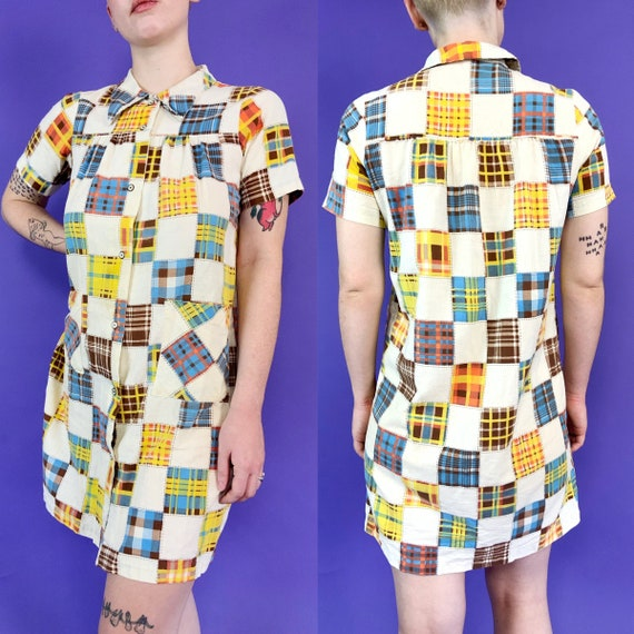 60's Vintage Patchwork Print House Dress Snap Fro… - image 3