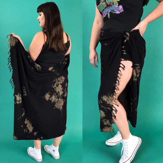 Black Tie Dye Giant Beach Cover Up w/ Fringe - Vintage One of a Kind Rayon Rectangular Swim Wrap  Open Free Size pool Cover Up Convertible