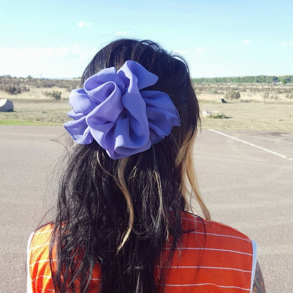 90's Large Lavender Puff Hair Clip - Light Purple Lilac 1990s Vintage Hairclip - Big Bow Barrette Statement Hairbow Big Pastel Accessory