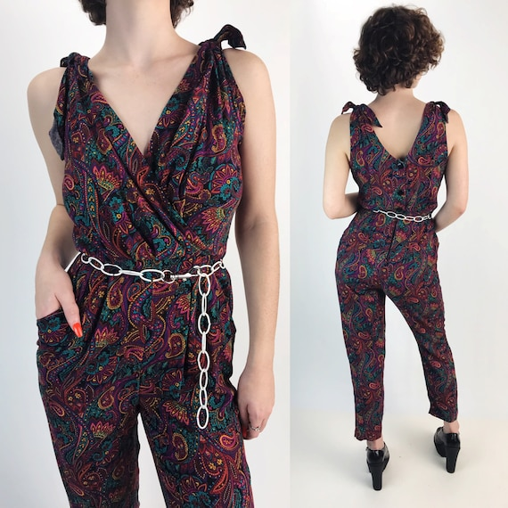 90's Pants Jumpsuit Button Back Womens Small - Paisley Print Sleeveless Purple Pants Suit w/ Pockets - Tapered Leg High Waist Casual Fun