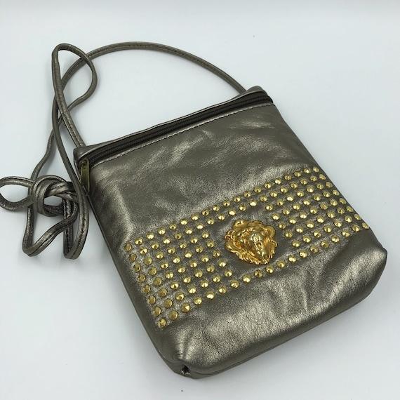 80's Gold Lion Crossbody Shoulder Bag Purse - Small Leather Glam Bag Vintage Gold/Copper Embellished Zipper Purse - Bedazzleed VTG Bag