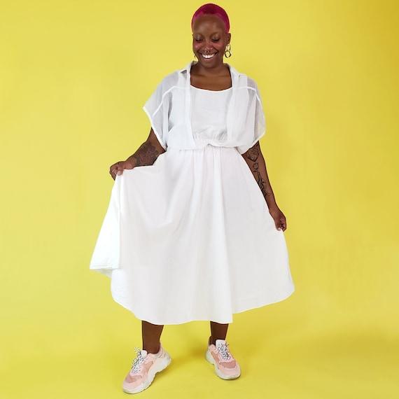 80s Vintage White Midi Dress Medium - 1980s Sheer Double Layer Dress - Retro Women Clothing - Circle Skirt with Sheer Upper Top Layer M