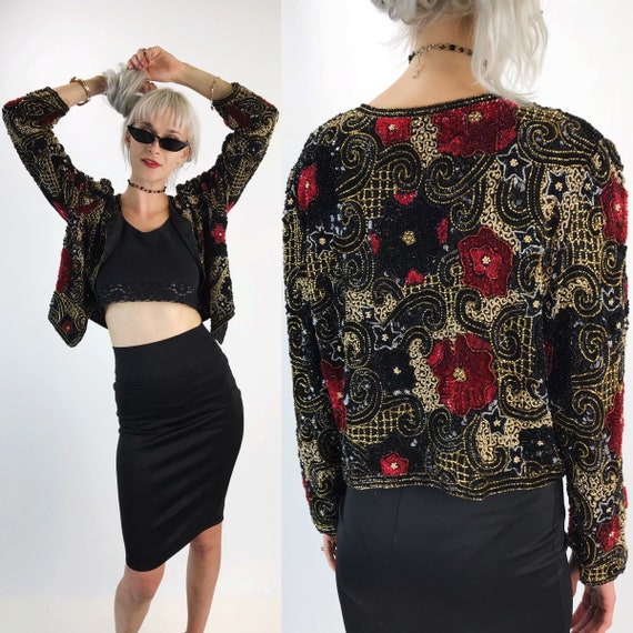 80's Silk Sequin Cropped Jacket S/M - Long Sleeve All Over Sequin Rose Print Black Red Gold Glam Cover Up Jacket - Sparkle Holiday Party
