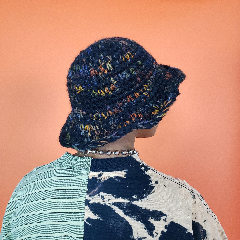Handmade Crochet Bucket Hat Unique Black Multi Womens Knit Hat Soft Handknit Fall Winter Upcycled Wool Yarn Bucket Hat