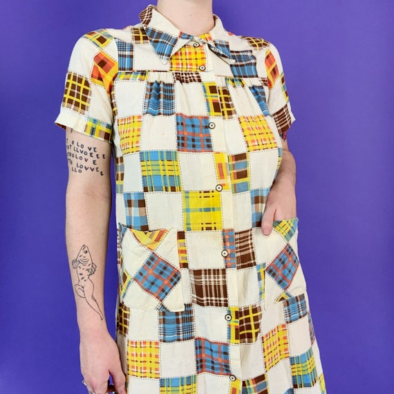 60's Vintage Patchwork Print House Dress Snap Fro… - image 5