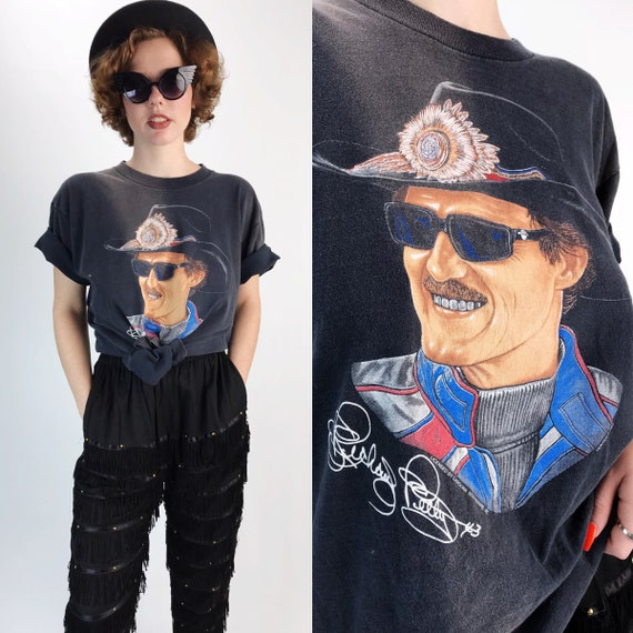 90's Richard Petty NASCAR Graphic Tee Large - Old School VTG Nascar Petty #43 Face Graphic - Collector Nascar Racing Tee Charcoal Black