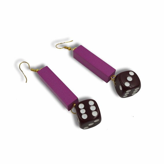 Vintage Dice Earrings - Handmade Recycled Long Dangly Trendy Statement Jewelry - BIG FUNKY Jewelry Trendy Retro Recycled Purple Brown DICE