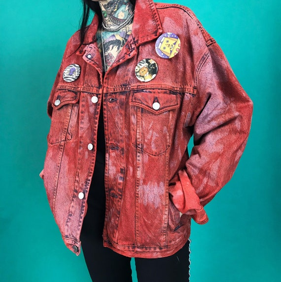 90's Hand Dyed RED Denim XLarge Oversized Baggy Jean Jacket - Tie Dye Upcycled Vintage Jean Jacket UNISEX Everyday Denim With Buttons Added