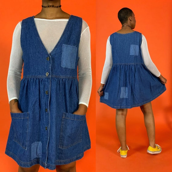 90's Button Front Denim Babydoll Dress Medium - Upcycled Mixed Denim Patched VTG Dress Pouch Pockets - Baggy Vintage Slouchy Casual Dress