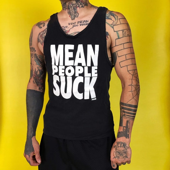 """Vintage """"Mean People Suck"""" Mens Tank Top S/M - Black White Typography Phrase Summer Tank - Mean People Suck Graphic VTG 90s Distressed Shirt"""