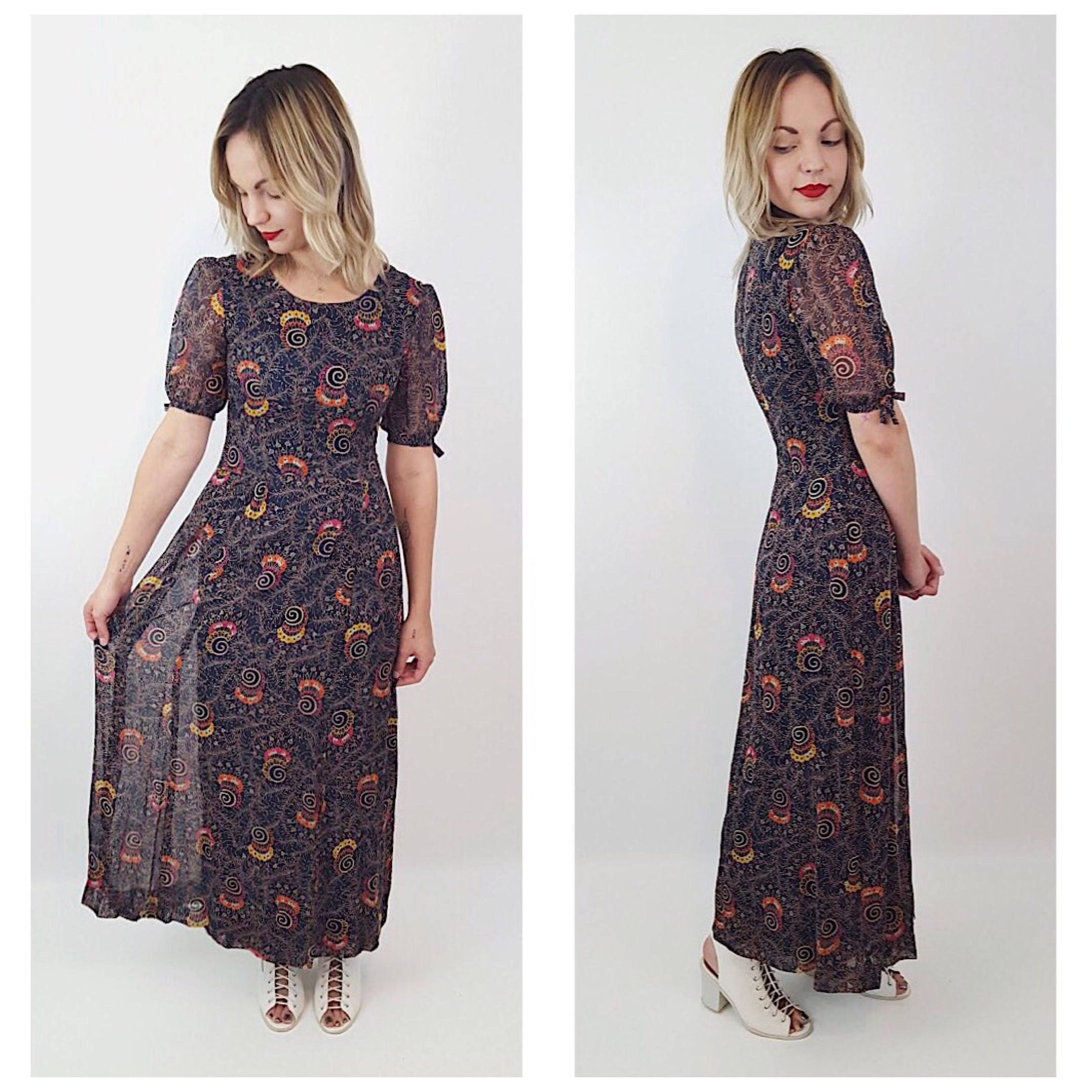 6cb6a2fe8a0f 30 s VINTAGE HANDMADE Floral Maxi Dress - Vtg One of a Kind ...