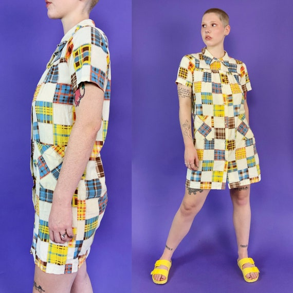 60's Vintage Patchwork Print House Dress Snap Fro… - image 6
