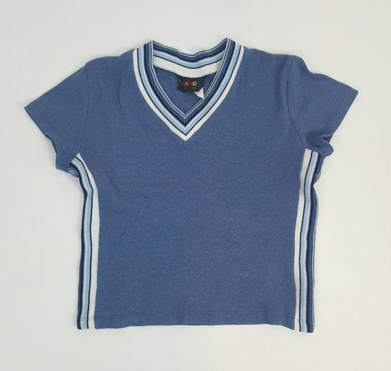 90's Blue Striped Small Short Sleeve Crop Tee - White Pastel Blue Stripe Baby Tee 1990s Grunge Style VNeck Top - Skater Girl Grunge Tee