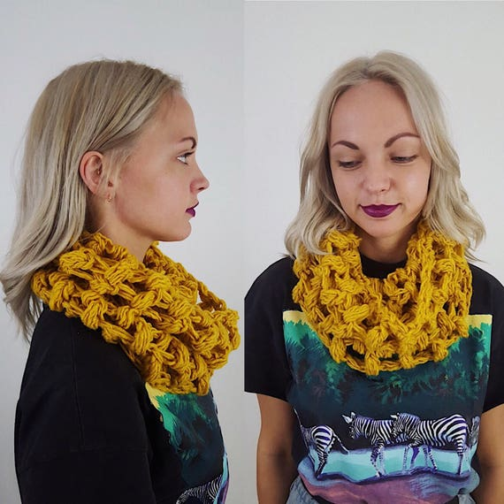 Handknit Handmade Mustard Yellow Circle Scarf - Boho Hipster Art Fashion Womens Accessory - Soft Warm Fall Upcycled Yarn Womens Cowl Scarf