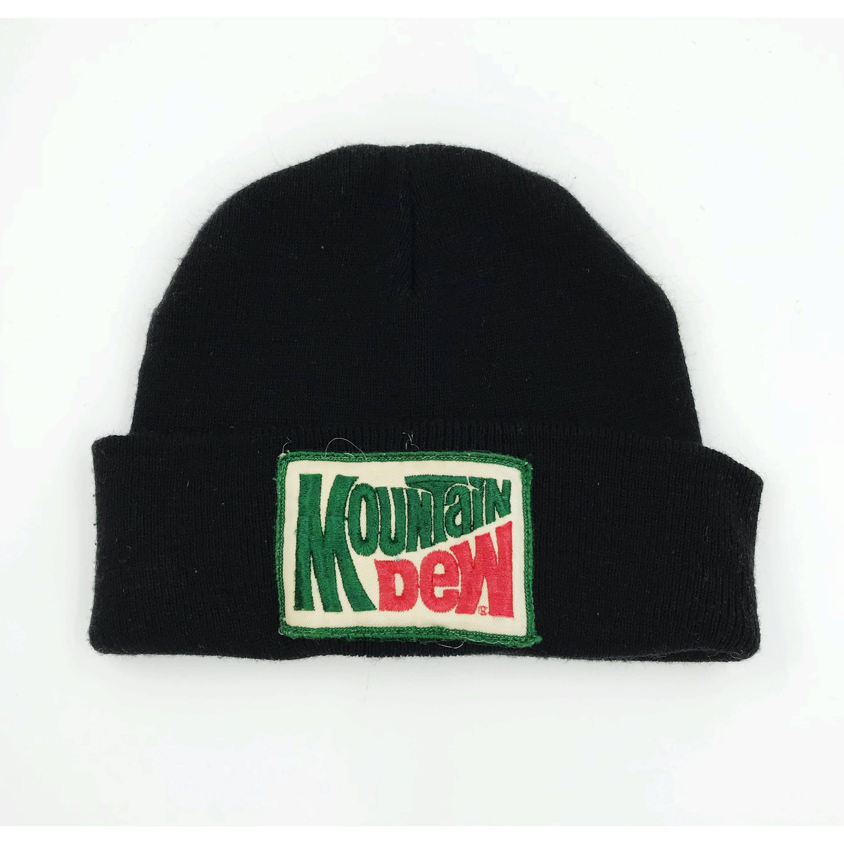 Mountain Dew Vintage Patch Beanie - Black Beanie Hat Soda Logo ... dd525d0c26b