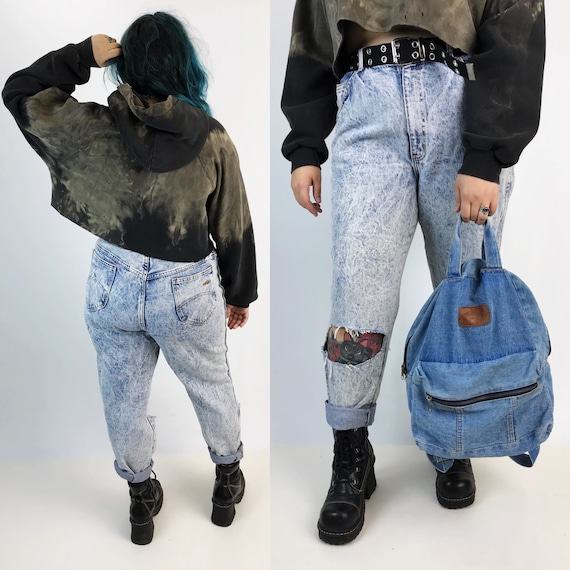 80's Acid Wash Holey High Waisted Mom Jeans - Womens Vintage Shredded Light Denim Pants - Distressed Cuffed Highwaist Jeans Size XLarge
