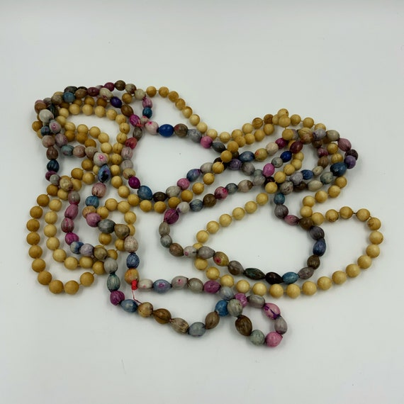 2 Vintage Beaded Strand Necklaces - Long Stacking Necklaces Lot of 2 Colorful Layering Strands - Retro Handmade Costume Jewelry Vintage Bead