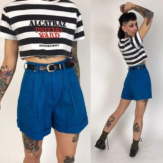 90's Cobalt Blue Pleated Front High Waist Shorts w/ Belt XS-2 - VTG Cuffed Casual Preppy Shorts w/ Pockets - Blue Shorts w/ Black Belt