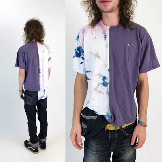 Nike Reconstructed Tie Dye Split T-shirt Adult Medium - Remade Mixed Prints Rare Grunge Sporty Tee - Split Hybrid Trendy Half & Half Shirt
