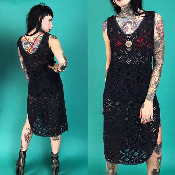 80's Black Mesh Dress Layer Small  - Long Goth Grunge See Through Net Tank Dress w/ Side Slit - Sexy Sheer Goth Grunge Fall Layering Top