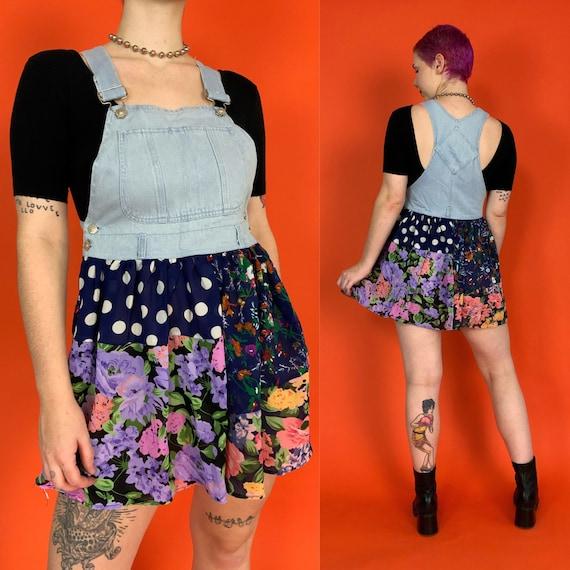 90's Overalls Mini Jean Dress Medium - Denim Top Allover Mixed Prints DEADSTOCK Dress - Casual Girly Nineties VTG Overalls Jumper Dress