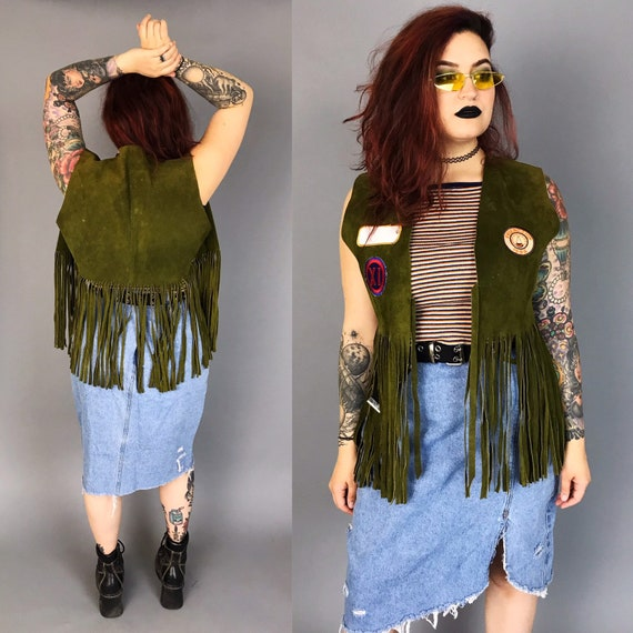 Vintage Suede Fringe Leather Vest Womens Large - Upcycled Fringe BOHO Hippie Leather Vest W/ Retro Patches Added - One Of A Kind Rare VTG