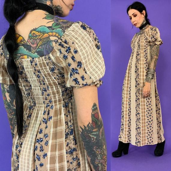 90's Mixed Prints BOHO Long line Puff Sleeve Dress - Bohemian Earth Tones Puffy Shoulder Smocked Top Floor Length Festival Peasant Dress