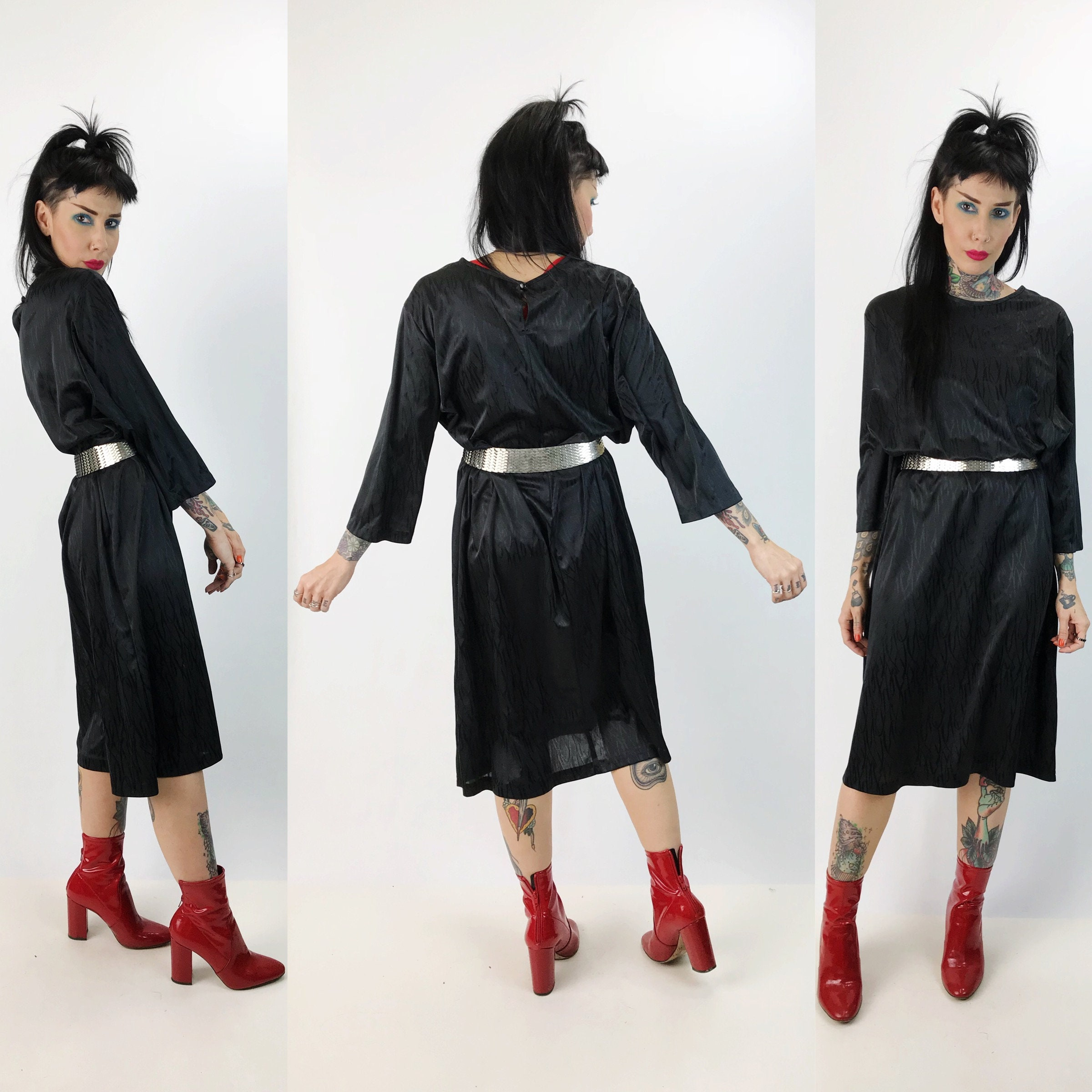 77cd4f9b644d 80 s Black Long Sleeve Midi Party Dress Large - Eighties Black Loose  Fitting Dress Embossed Allover Print Cocktail Midi Sack Party Dress.  gallery photo ...