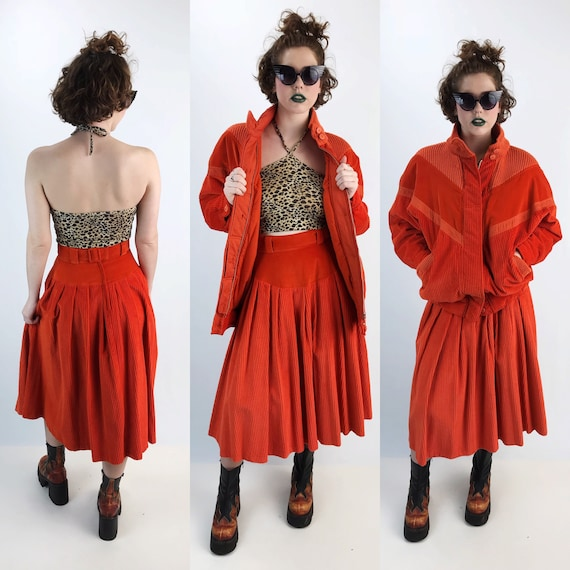 Vintage Two Piece Corduroy Matching Skirt and Coat Set Medium - Rare FUN Tangerine Coordinate Set/Outfit - High Waist Skirt & Top Streetwear