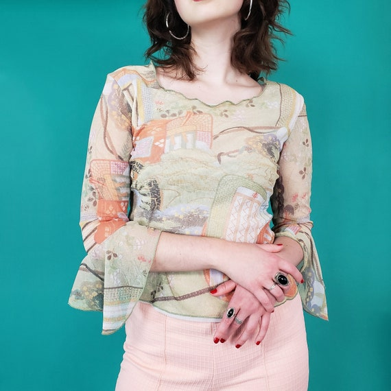 90s y2k Tan Ruffle Sleeve Top - Medium Sheer Cottagecore Mesh Top - Vintage Womens Romantic Editorial Shirt with Pastoral Farm Scene
