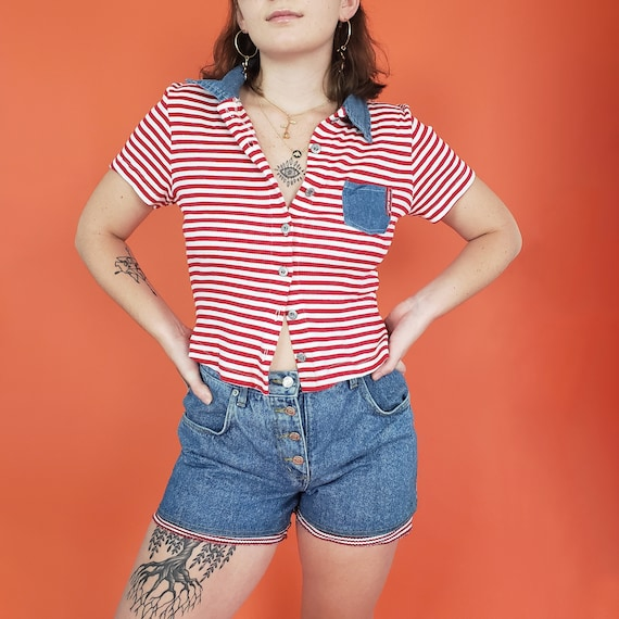 90s Vintage Two Piece Top & Shorts Set Womens Medium - Retro RARE 1990s Matching Outfit - Red White Striped Denim Collar Tee Shorts Set