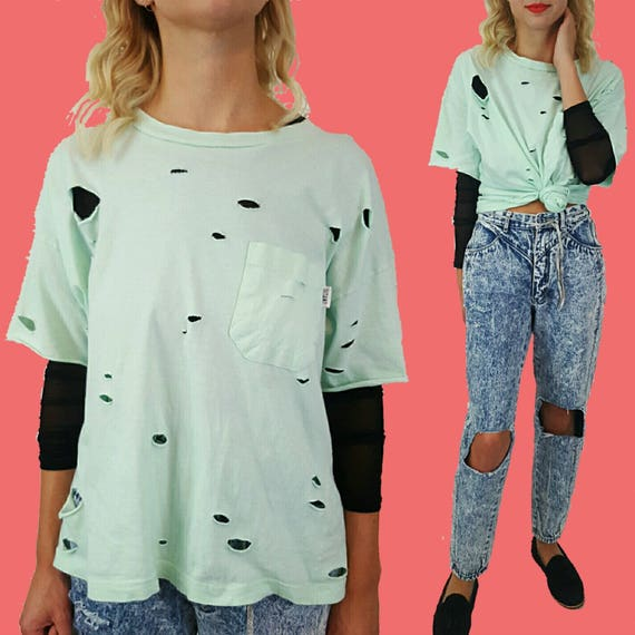 Vintage Distressed Upcycled Holey Tee Large - Grunge Mint Green Holes T-shirt - XL Worn Thin VTG Shirt - UNISEX Distressed Baggy Pocket Tee