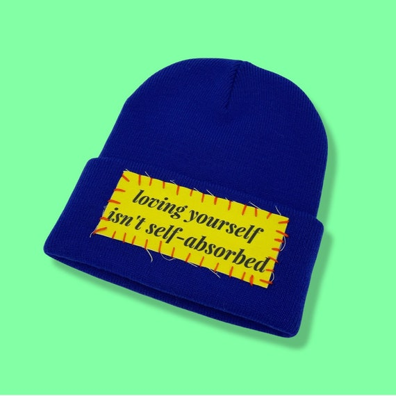 Self-Love Upcycled DIY Patched Beanie - Unisex Streetwear Winter Hat - One Of A Kind Grunge Fashion Hat - Remade Patched Cobalt Blue Hat