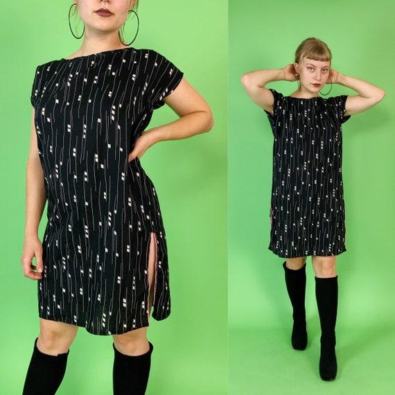 Handmade Allover Print Shirt Dress Slip On Tunic S/M - Upcycled Black & White Printed Slip On Sundress Straight Line UNIQUE Shift Dress