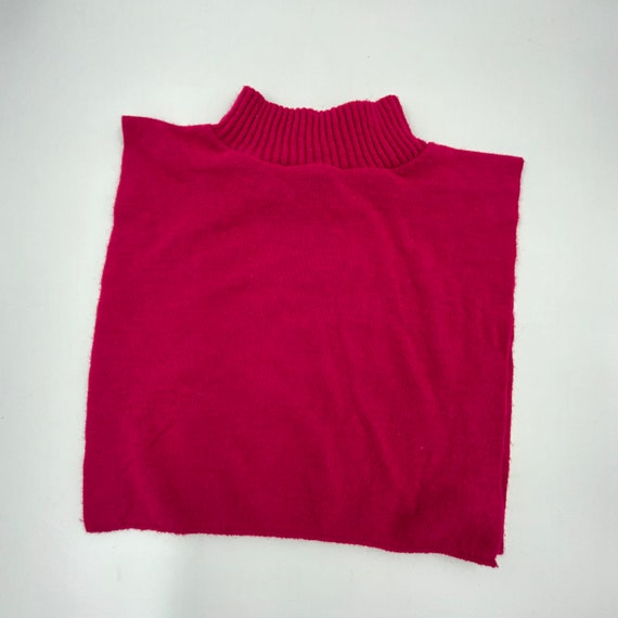 80s/90s Hot Pink Mock Neck Dickey Collar One Size - Vintage Under Layer High Neck Knit Fashion Accessory - Casual Basic Add On Collar Bib