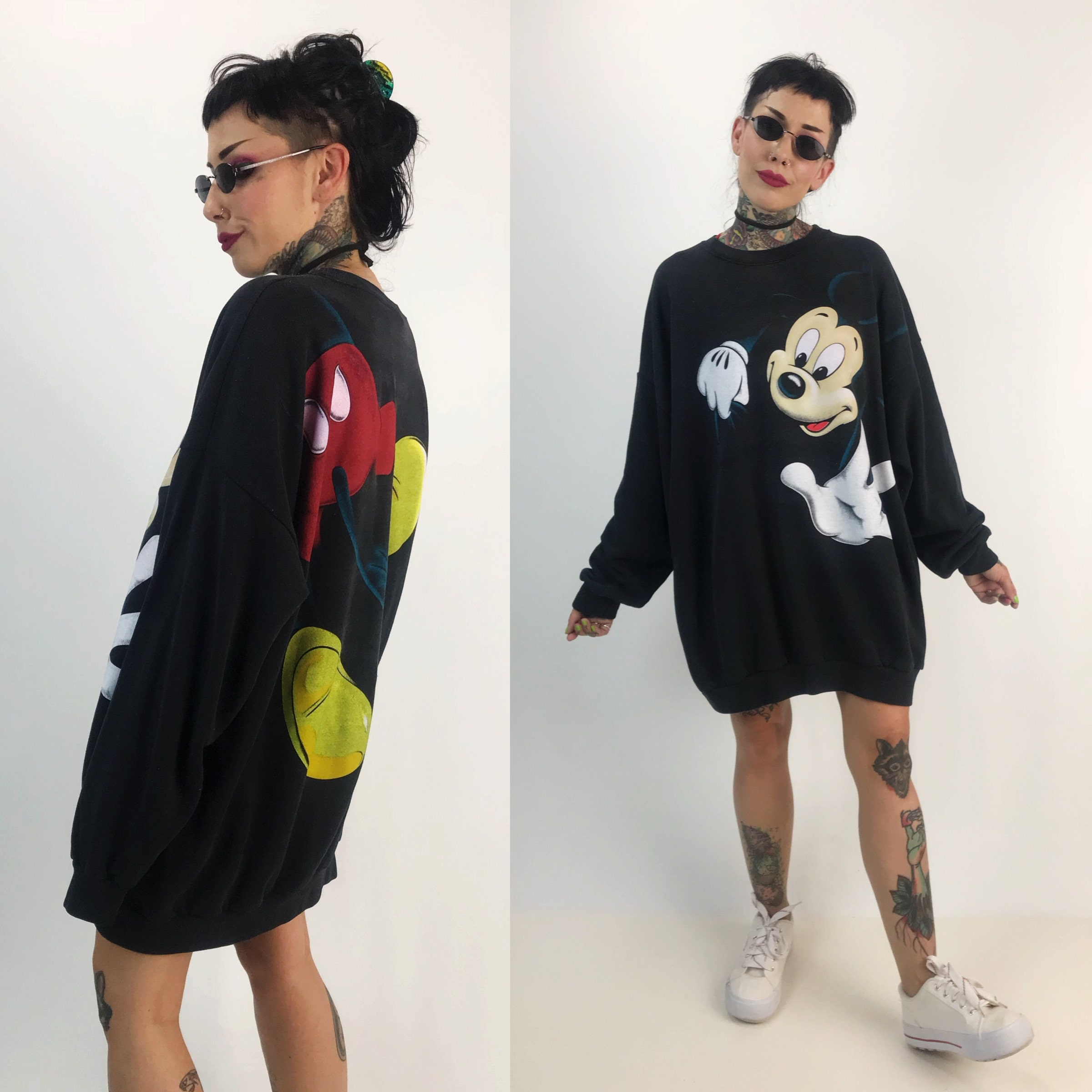 a335a6b0f 90's Mickey Mouse Sweatshirt Black Plus Size 4XL Pullover Unisex ...