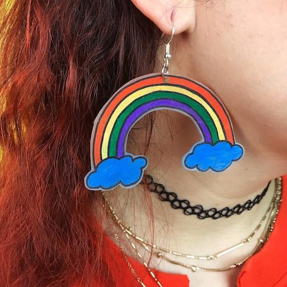 Rainbow Hand Drawn Plastic Shrinky Dink Earrings - Large Handmade Wearable Art Trend Jewelry - Big Rainbow Clouds Festival Costume Jewelry